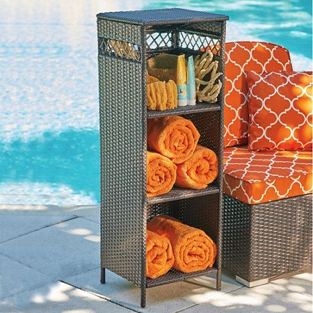 Resin Wicker Towel Storage Outdoor Space Pinterest