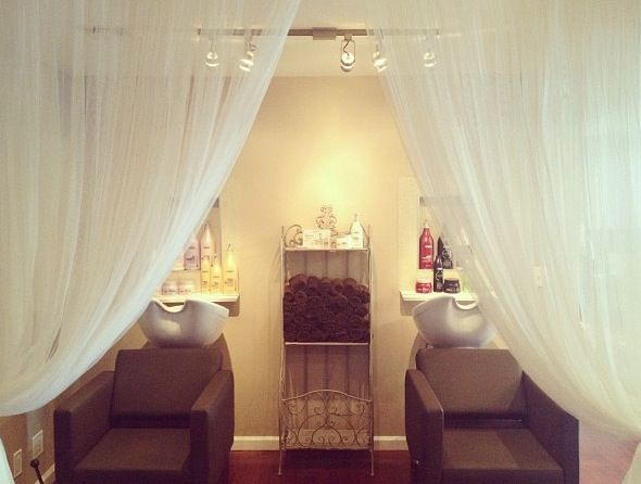The shampoo oasis. To break up the shampoo area from the rest of salon and give the client a chance to relax.