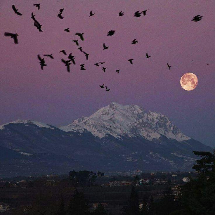 The moonbeams caress the magnificent Gran Sasso! Il riflesso del sole sulla luna piena ci regala questo spettacolo della natura!