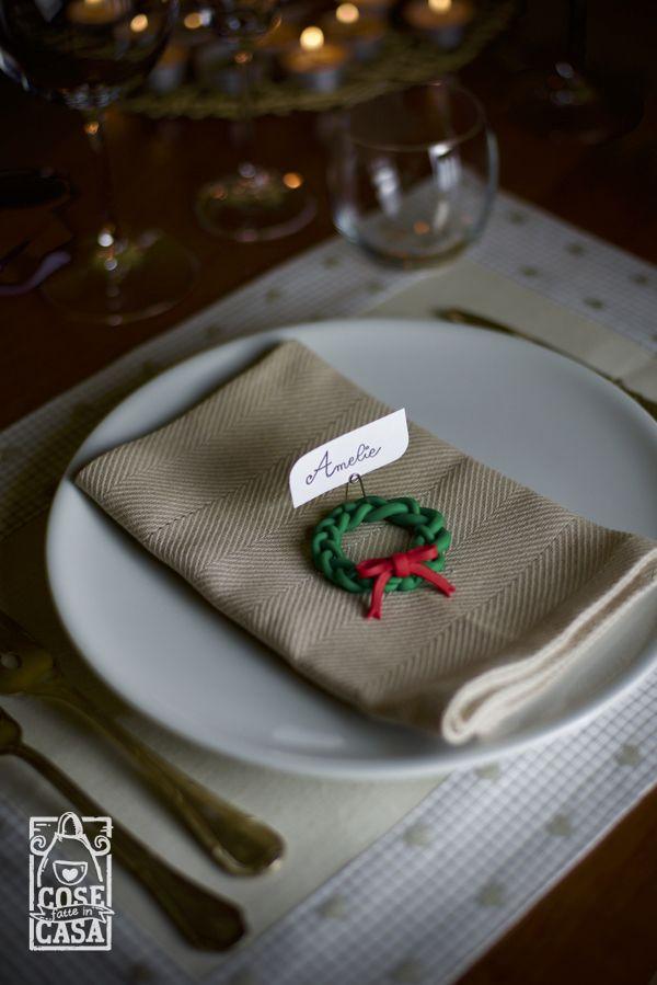 Ghirlanda natalizia segnaposto. #handmade #cosefatteincasa #pastapolimerica #natale #decorazioni #pranzo