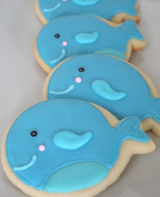 Octonauts Party ~ Whale cookies - overall, these take some time, but it's stepwise and seems do-able.