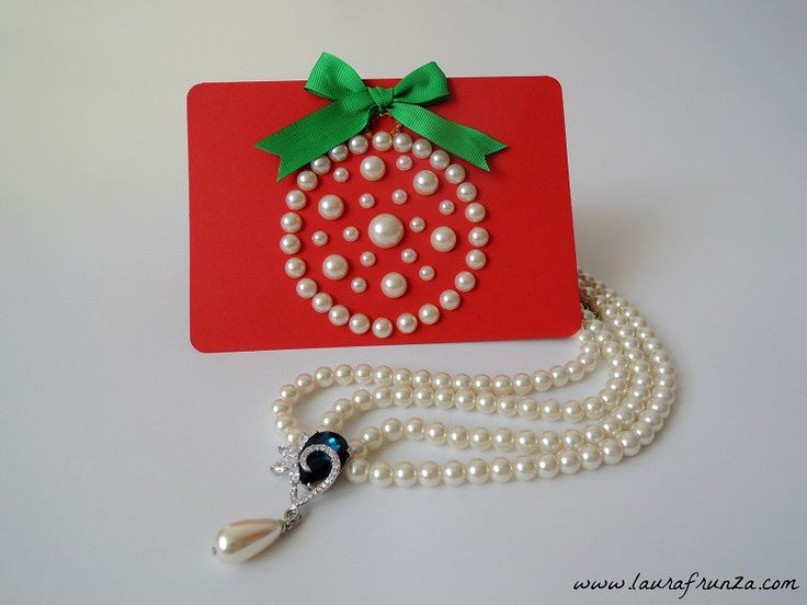 Christmas card with half pearls