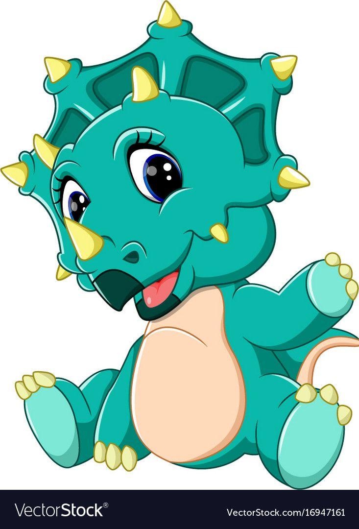 Cute baby triceratops cartoon vector image on vectorstock