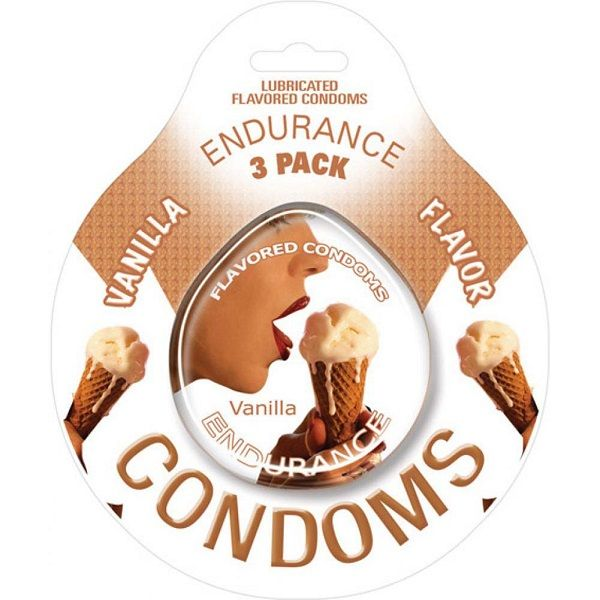 Endurance Flavored Condom 3 Pack Vanilla - Endurance Lubricated Flavored Condoms Vanilla erotically, delicious flavors. Condoms are an essential item for any individual that enjoys a healthy sex life. These flavored and lubricated condoms help you to enjoy all aspects of sexual intimacy while practicing safer sex habits. This product contains natural rubber latex. Innovative packaging design allows for quick and easy opening. Do yourself and your partner a favor. Get it flavored.