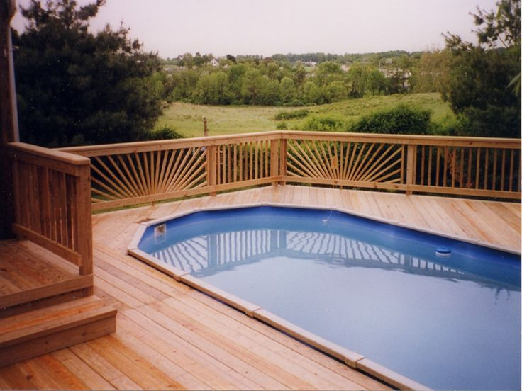 48 best images about pools on pinterest wooden decks on ground pools and swimming pool designs for Rectangular above ground swimming pools with deck