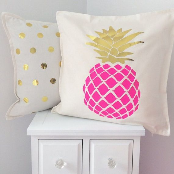 Pink and gold pineapple pillow cover by FancyItPretty on Etsy