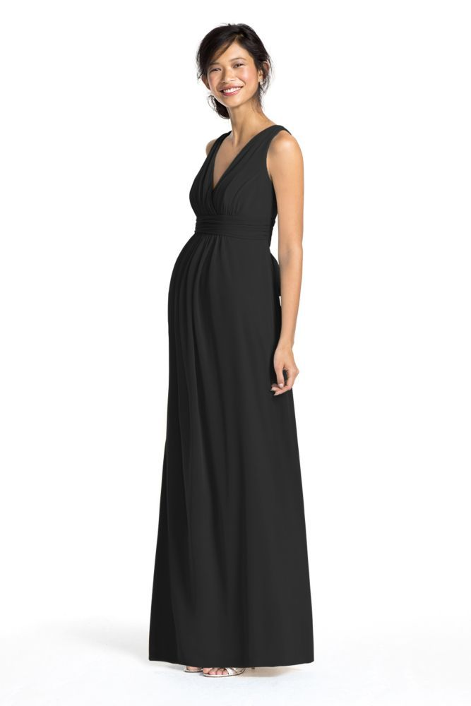 Long Mesh Sleeveless Maternity Bridesmaid Dress with V-Neck