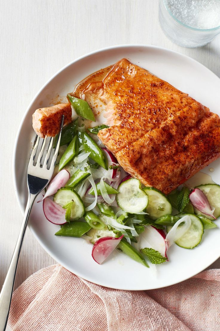 Roasted Blackened Salmon with Snap Pea Salad (test salad)