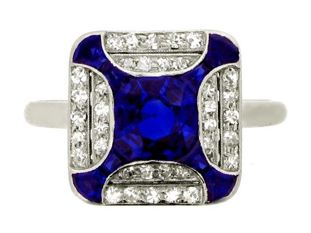 Art Deco anillo zafiro y diamante, circa 1925