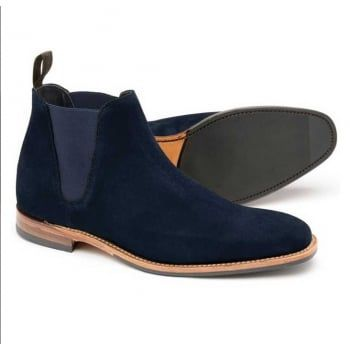 A stylish low cut chelsea boot, available in brown or navy suede leathers. Caine uses the 'Legend' last for a squared off toe shape, and features a rubber forepart sole for greater longevity and grip. Caine is made in England. http://www.marshallshoes.co.uk/mens-c1/loake-mens-caine-navy-suede-chelsea-boots-p4893