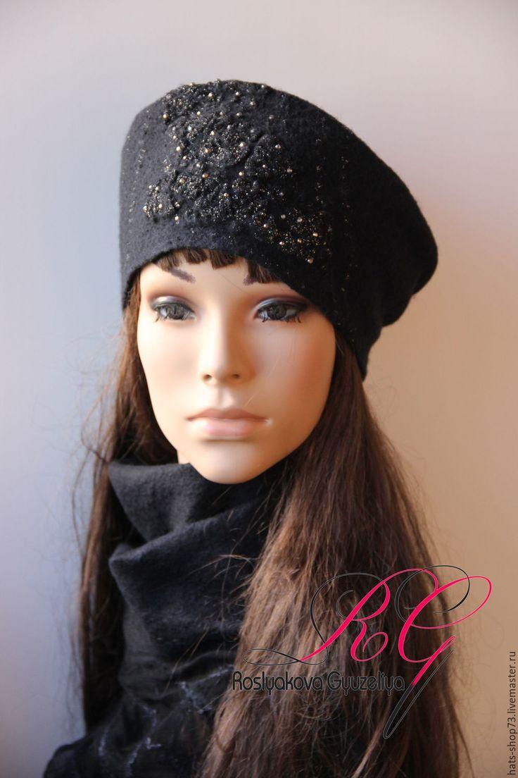 Купить Шапка-бандана валяная Сказка Шахерезады - черный, однотонный, валяная шапка, шапка женская