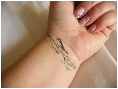 kuş bilek dövmeleri bayan bird on branch wrist tattoos for women