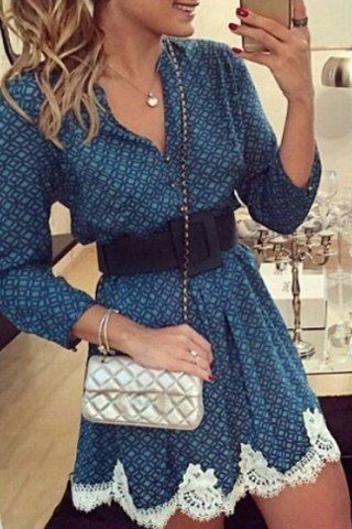 Casual Long Sleeve Argyle Print Lace Splicing Mini Dress For Women Long Sleeve Dresses | RoseGal.com Mobile