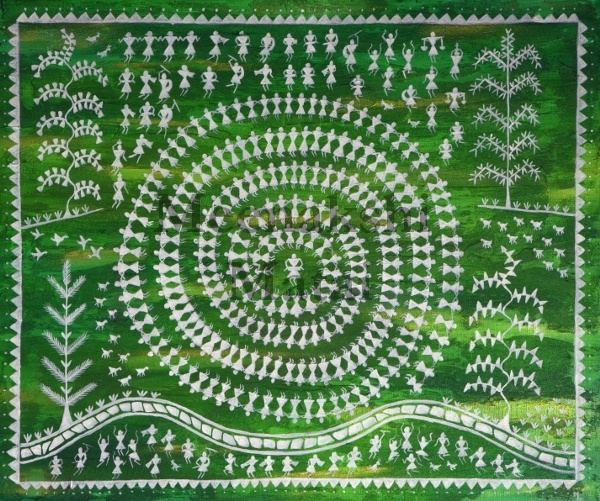 Painting of the Tarpana dance from the Warli tribe. These extremely rudimentary paintings use a very basic graphic vocabulary: a circle, a triangle and a square. The circle and triangle come from their observation of nature, the circle representing the sun and the moon, the triangle derived from mountains and pointed trees. Only the square seems to obey a different logic and seems to be a human invention, indicating a sacred enclosure or a piece of land.