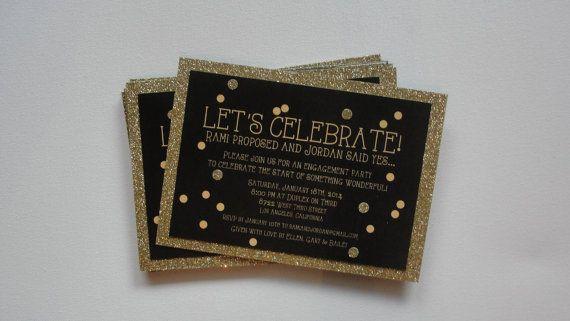 Gold Glitter Party Invitations / Engagement Birthday Bachelorette / Confetti / Gold Metallic Shimmer Glitter /  5x7 / Lined Black Envelopes