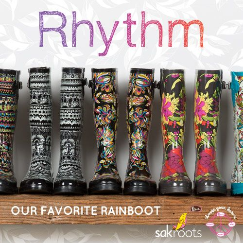 Rhythm, our most popular tall rubber rainboots are ideal for splashing around in the rain, snow, hail or whatever else mother nature throws at you! Now available in new prints.
