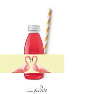 Kit de fiesta tropical para imprimir. Etiquetas para botellas con estampado de flamencos :)