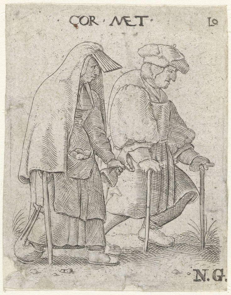 Cornelis Massijs | Man en een vrouw lopend op krukken, Cornelis Massijs, 1577 | Een man en een vrouw, gekleed als burgers, lopen naast elkaar. De man loopt met krukken en de vrouw steunt op één kruk, terwijl ze de mouw van de man vasthoudt.