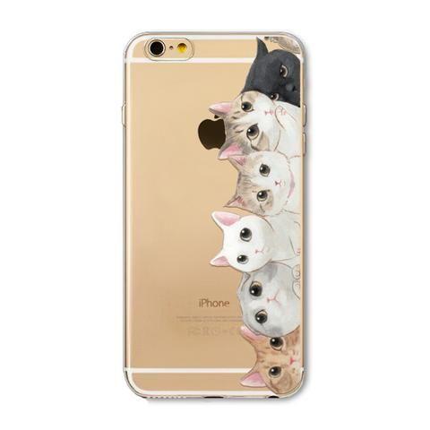 Apple iPhone 6 6s Plus 4 4S 5 5S SE 5C 6Plus Case Soft TPU Silicon Transparent Thin Cover Black Cat Owl Rabbit Animal Case