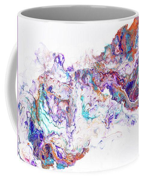 Oriental Treasures.  Abstract Fluid Acrylic Painting Coffee Mug by Jenny Rainbow.  Small (11 oz.)