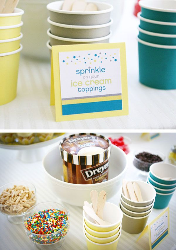 "Love the idea of an ice cream bar for a shower themed baby shower! ""Sprinkles"" everywhere!"