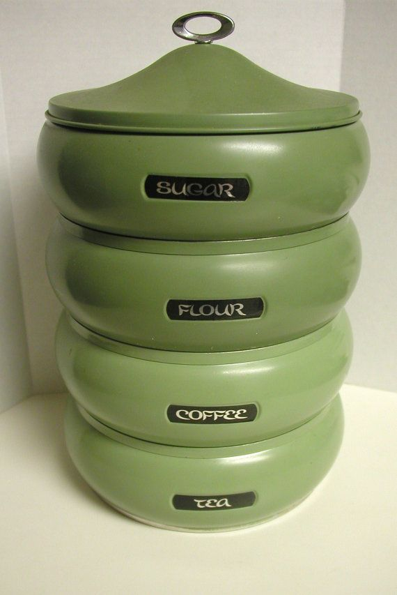 Vintage Avocado Green Stacking Canister Set
