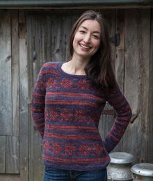 Fara by Amy Christoffers. Twist Collective Knit in-the-round.  Sizes 9 and 7  circular needles. Aran weight, 4st. per inch. waist shaping