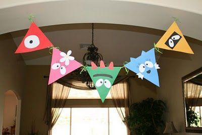 yo gabba gabba birthday party pennant... i also like the balloon face idea.