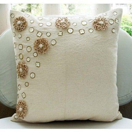 Ecru Jute Flowers Pillows Cover, Cotton Blend 18X18 Pillows Cover - Jute Flowers