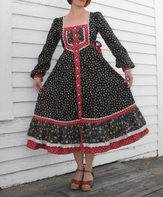 Vintage 70s Gunne Sax Dress Black Floral Print Boho by soulrust, $89.99