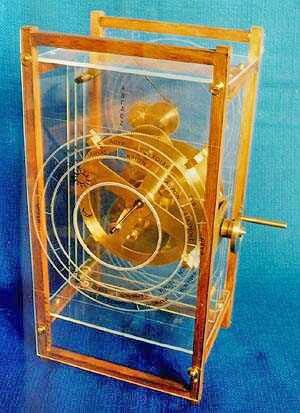 A model of an ancient Greek device known as the Antikythera Mechanism. Known as the world's oldest analog computer.