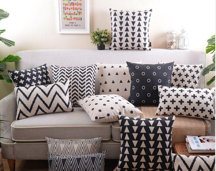 Frete grátis travesseiro capa de almofadas decorativas decoração preto e branco geométrico capa de almofada sofá em Almofadas de Casa & jardim no AliExpress.com | Alibaba Group