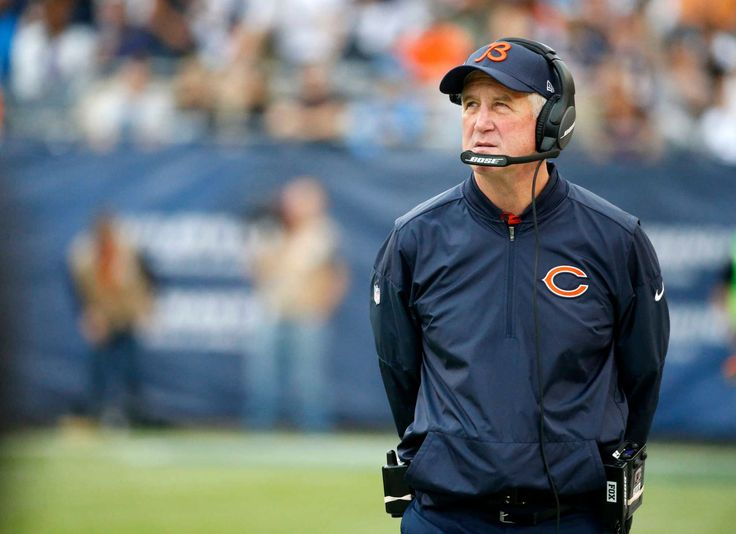 Chicago Bears head coach John Fox watches the scoreboard during the first half of an NFL football game against the Detroit Lions, Sunday, Oct. 2, 2016, in Chicago. (Credit: AP / Nam Y. Huh)