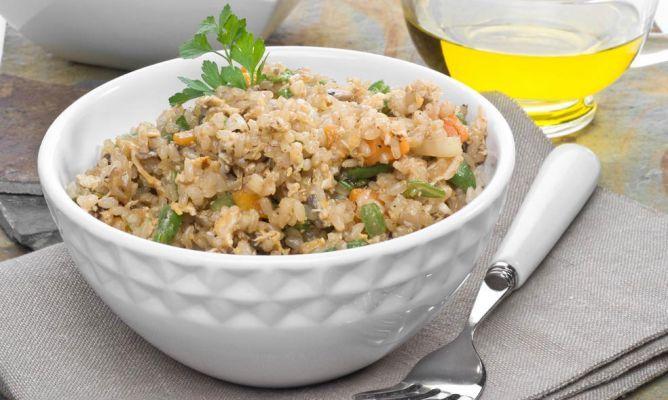 Receta de Arroz integral con verduras y salsa de soja