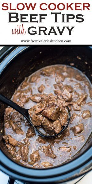 A delicious way to prepare steak in the cold fall and winter months. Slow Cooker Beef Tips with Gravy is a satisfying, family-friendly meal. With a little help from your slow cooker you can have this delicious, satisfying meal on your menu any night of the week. ~ http://www.fromvalerieskitchen.com