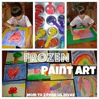 Frozen Paint Art - a wonderful sensory painting experience