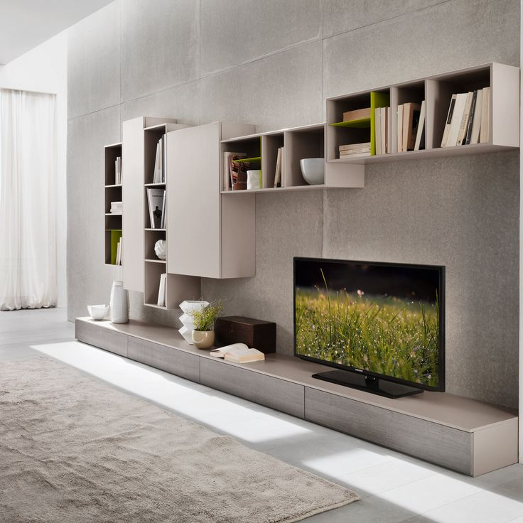 Tv unit modern contemporary design by siluetto 360 cm Study room wall cabinets