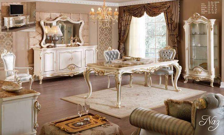 Dalyan Lüks Klasik Yemek Odası Takımı.  #YemekOdası #DiningRoom #Decoration #Ev #Dekorasyon #Moda #Mobilya #Furniture