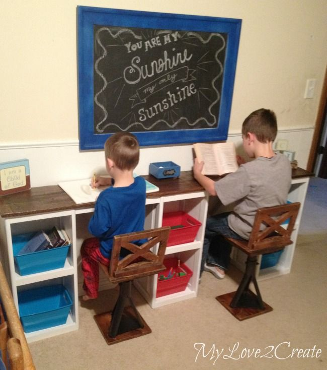 Re-purposed jacks into industrial chairs and cabinet doors into desk by Mindi at My Love 2 Create