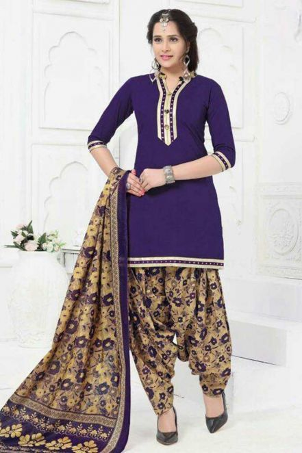 e52c2d6248 Threadsutra #Patialasuits - Printed Patiala #Suit in Blue | Patiala ...