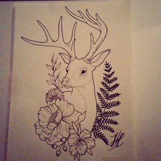 Deer, Fern, and Flowers