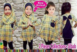 Setelan baju muslim anak burberry kuning umur 2-3-4-5-6-7tahun - http://keikidscorner.com/baju-anak-perempuan/baju-dress/setelan-baju-muslim-anak-burberry-kuning-umur-4-5-6-7-8-9-tahun.html