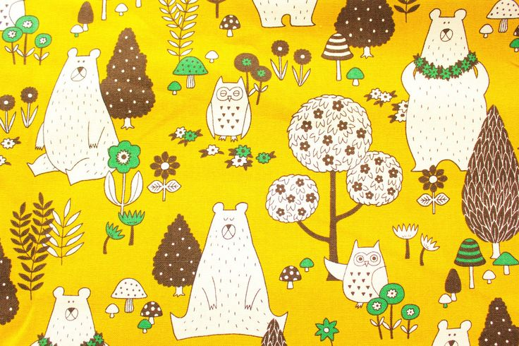 Bear Fabric, Owl Fabric, Canvas Fabric, Cotton Duck,Japanese, Buzoku, Vintage Mustard Yellow, Woodland, Forest Animals, Half Metre by TCRFabricStore on Etsy