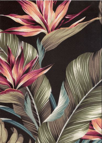 Mohala Black Tropical Hawaiian Tropical Hawaiian leafy, bird of paradise bark crepe upholstery fabric.Add Discount code: (Pin10) in comment box at check out for 10% off sub total at BarkclothHawaii.com