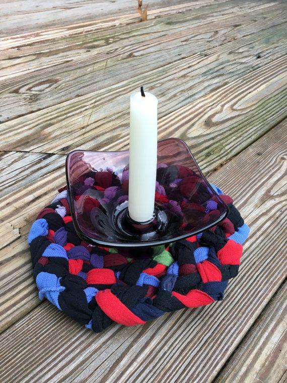 Funky repurposed rag rug trivet for the alternative dining table from Purple Basset https://www.etsy.com/listing/506764803/small-trivet-made-rag-rug-style-of