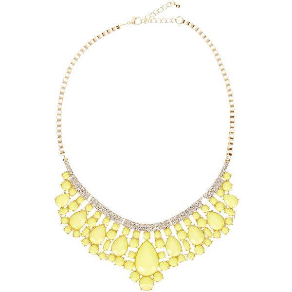 Eye Candy Los Angeles Sea Foam Statement Necklace found on Polyvore featuring polyvore, fashion, jewelry, necklaces, chain bib necklace, yellow jewelry, yellow statement necklace, chain necklace and gold tone necklace