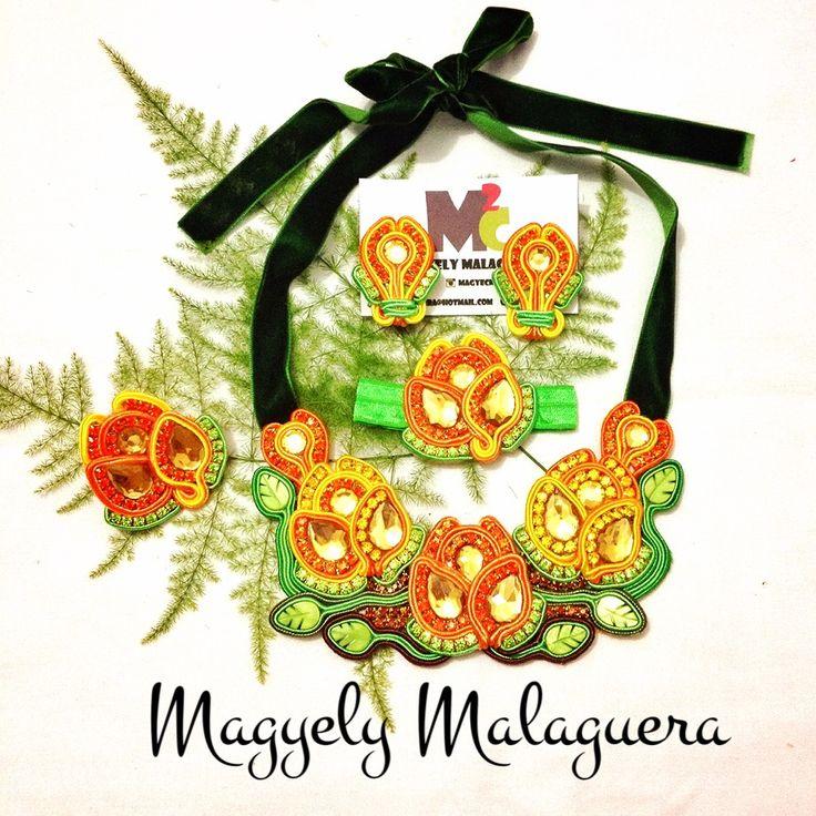 Collar Rosas Soutache •••Accesorios M2C••• Soutache Venezuela +584149565090 Envíos Internacionales y Ventas al Mayor!