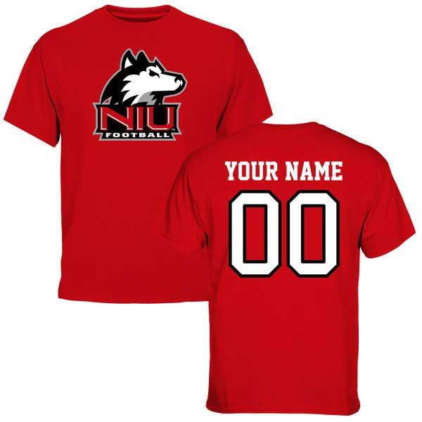Northern Illinois Huskies Personalized Football T-Shirt - Red - $37.99