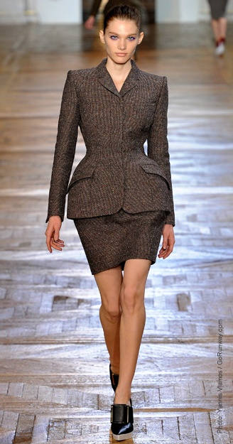 Fall 2012 runway show look to create an extreme hourglass shape with peplums, panniers and almost absurd padding on the hips. Lanvin, Marc Jacobs, Carven and Burberry all showed an exaggerated hip not seen in previous years. -Katie R