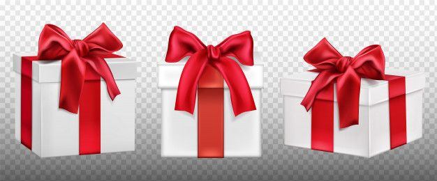 Download Gift Or Present Boxes With Red Bow Set For Free Bow Set Gift Ribbon Free Christmas
